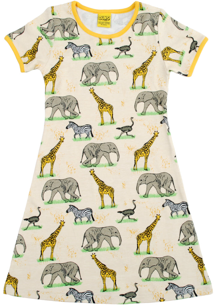 Duns Sweden Dress Shortsleeve Savanne - Jurk Olifanten, Zebra's, Giraffes