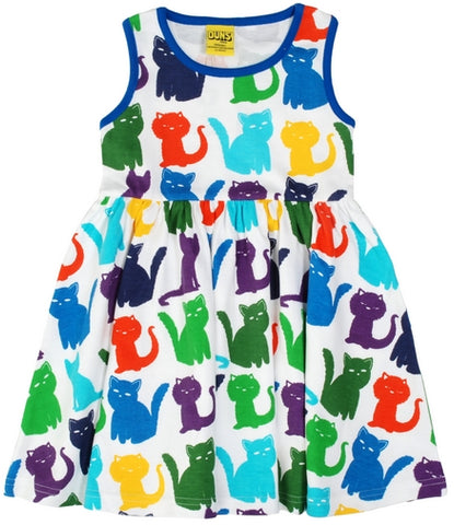 Duns Sweden - Sleeveless Dress Cats White - Zwierjurk Katten Wit