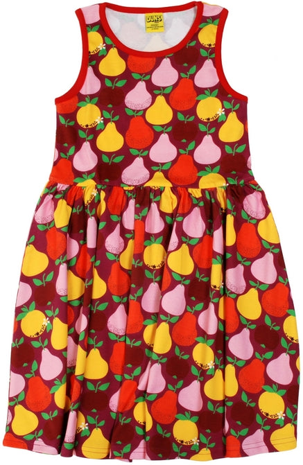 Duns Sweden - Sleeveless Dress Fruits Boysenberry - Zwierjurk Appels & Peren Donkerrozerood