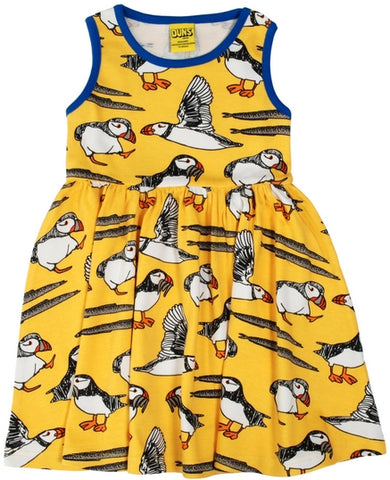 Duns Sweden - Sleeveless Dress Puffin Yellow - Zwierjurk Puffins Geel