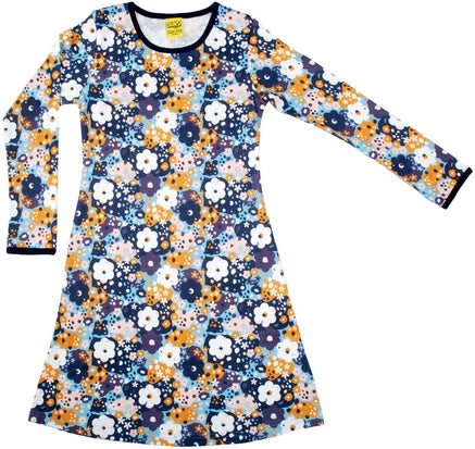 Duns Sweden Longsleeve Dress Blue Flowers Blauwe Bloemen