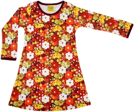Duns Sweden Longsleeve Dress Pompeian Red Flowers Rode Bloemen