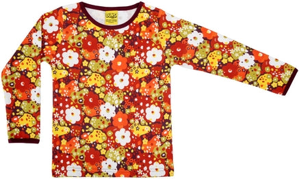 Duns Sweden LADIES Longsleeve Top Flowers Pompeian Red