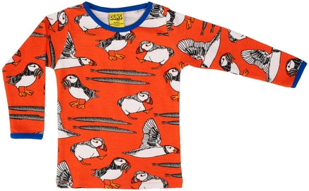 Duns Sweden - Longsleeve Puffin Red - Shirt Lange Mouw Papegaaiduiker Rood