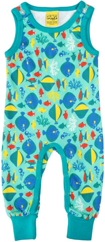 Duns Sweden Playsuit Blue/Turquoise Vissen Fish