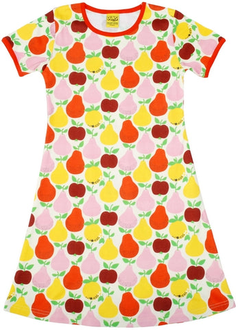 Duns Sweden - Shortsleeve Dress Fruits Yellow - Jurkje Appels Peren Geel