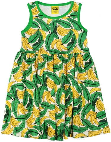 Duns Sweden - LADIES Sleeveless Dress Bananas Pale Yellow - Zwierjurk Bananen Geel