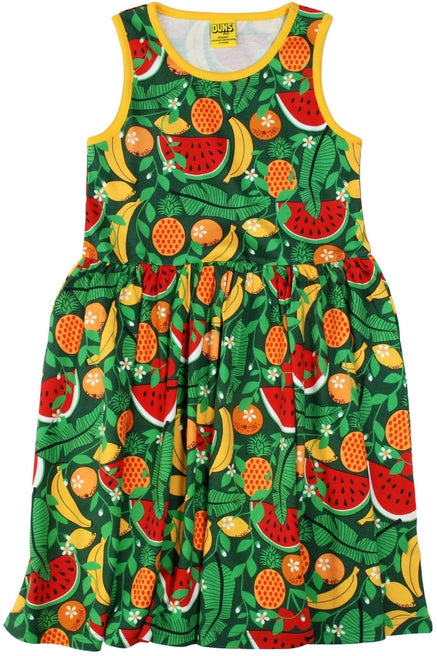 Duns Sweden - Sleeveless Dress Tropical Swamp Green - Zwierjurk Tropisch Fruit Groen