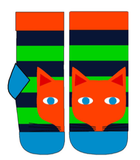 Duns Sweden Socks Fox Dark Blue/Greep Striped - Vossen Sokken