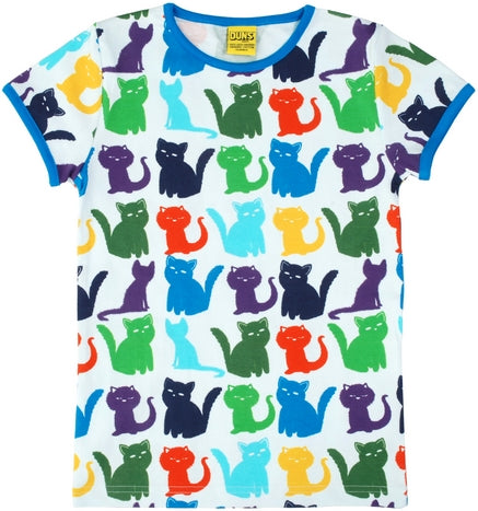 Duns Sweden - T-Shirt Cats White - Shirt Korte Mouw Wit Katten