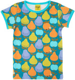 Duns Sweden - T-Shirt Fruits Dark Teal - Shirt Korte Mouw Fruit GroenBlauw