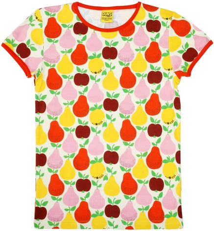 Duns Sweden -  LADIES T-Shirt Fruits Yellow - Shirt Korte Mouw Fruit Lichtgeel