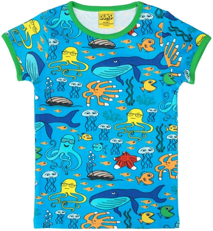 Duns Sweden - T-Shirt Sealife Turquoise - Shirt Korte Mouw Zeeleven Turquoise