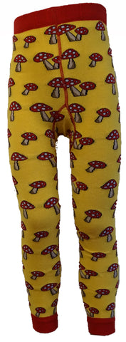 Slugs and Snails - Footless Tights Fun Guy - Voetloze Maillot/Legging Geel Paddestoelen