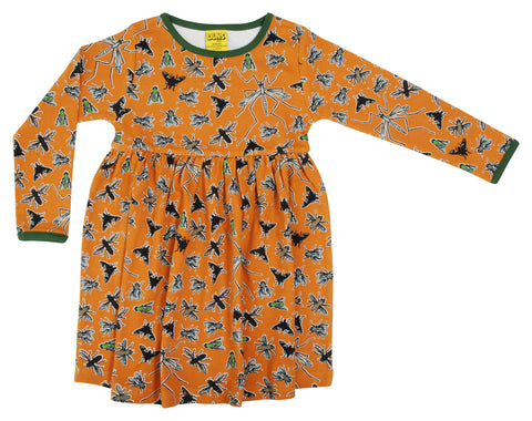 Duns Sweden - Longsleeve Gather Dress Flies Dark Cheddar - Zwierjurk Lange Mouw Vliegen