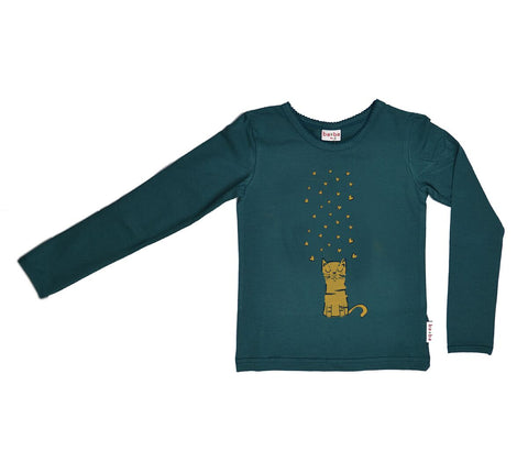 Baba Babywear - Longsleeve Dark Green Lovely Cat
