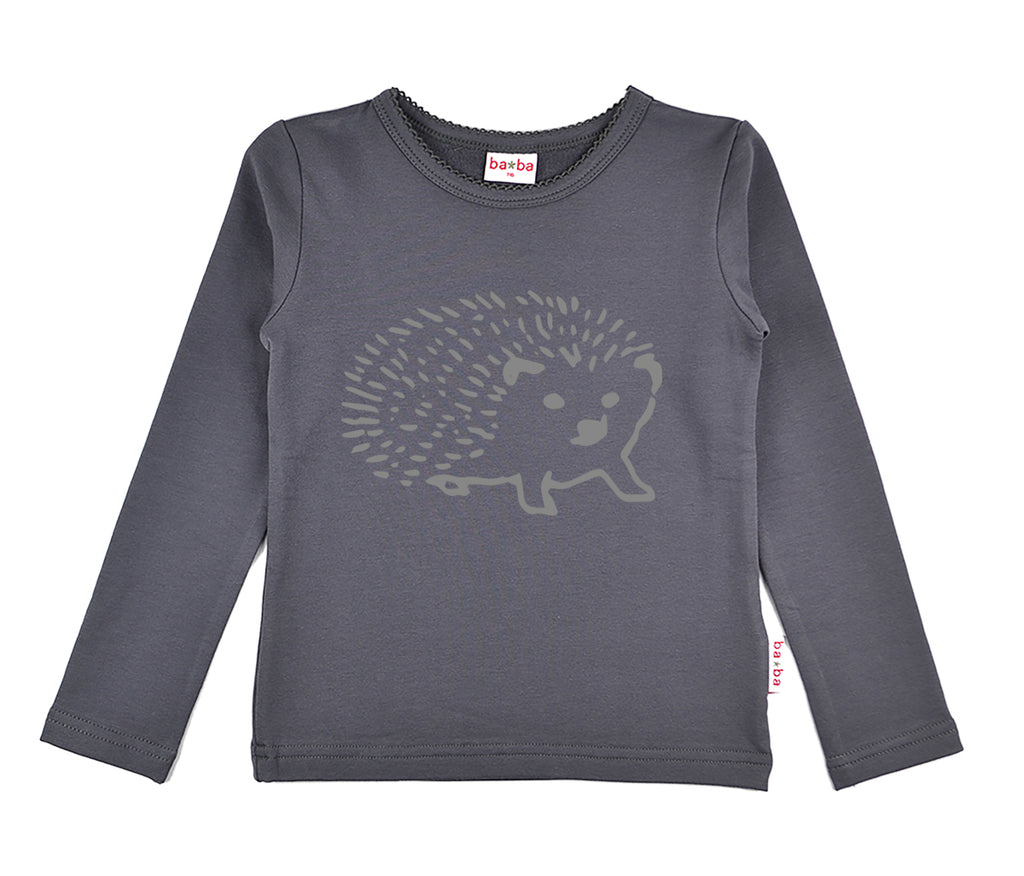 Baba Babywear - Longsleeve Girls Grey Hedgehog Egeltje