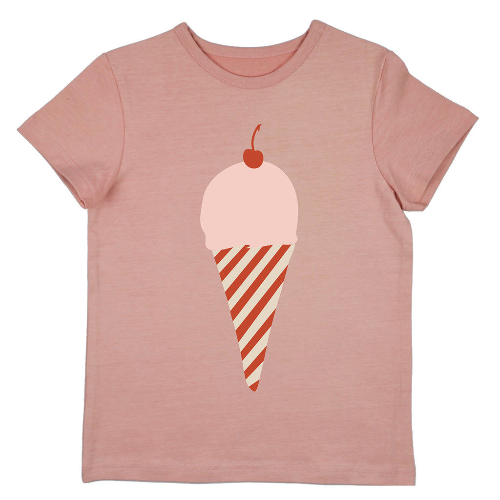 Baba Babywear - T-shirt Girls Icecream Rose - IJsje Roze