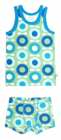 Katvig - Underwear Set Boys Big Apple Blue Green - Ondergoed Set Hemd en Boxer Appels Blauw Groen