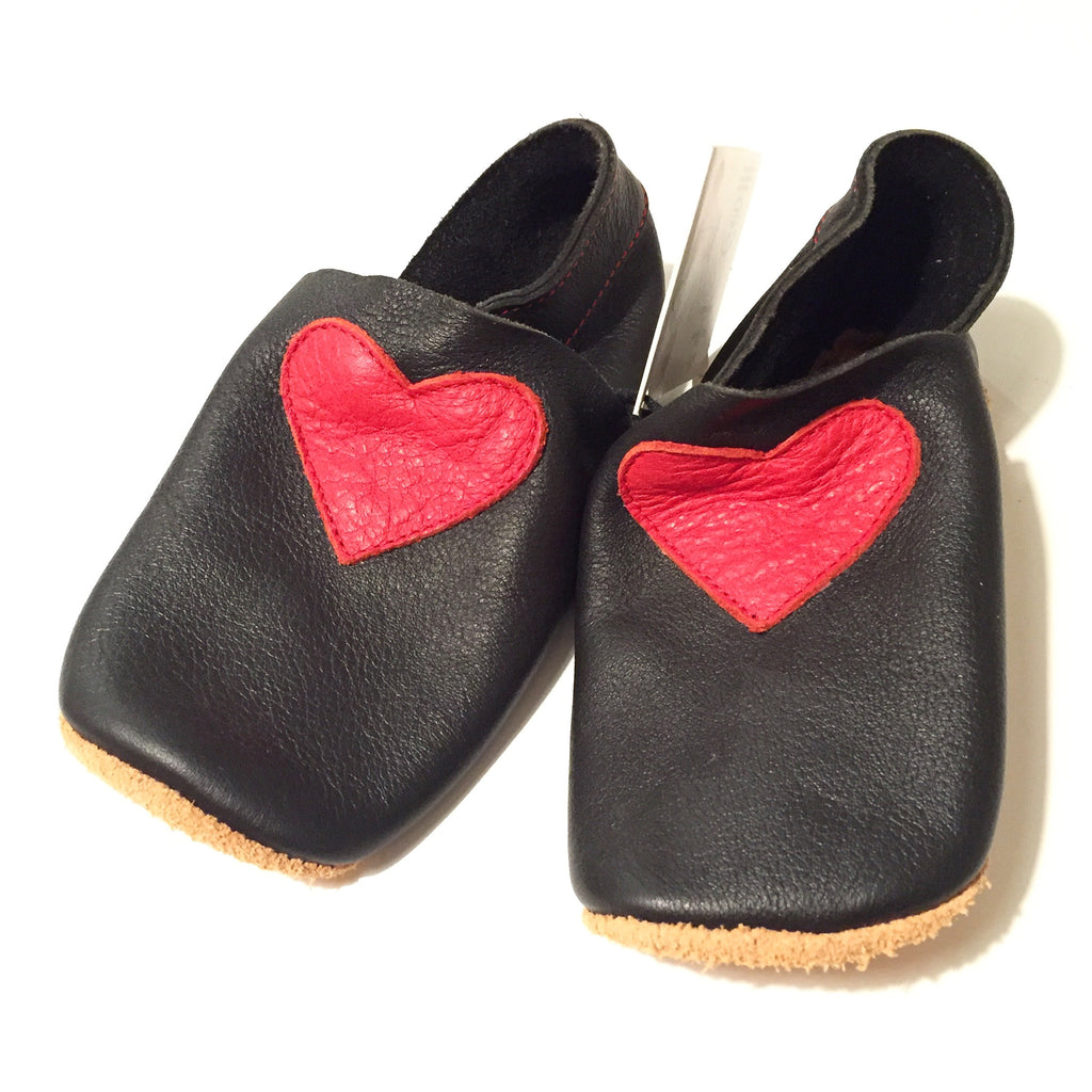 Bellio - Black Red Heart Organic Tanned Leather Boots