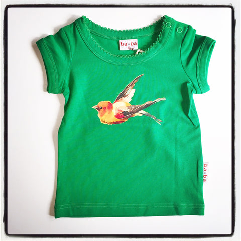 Baba Babywear - T-Shirt Girls Green Bird
