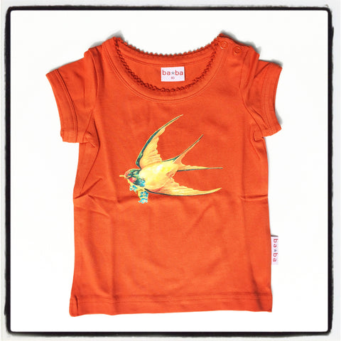 Baba Babywear - T-Shirt Girls Orange Bird