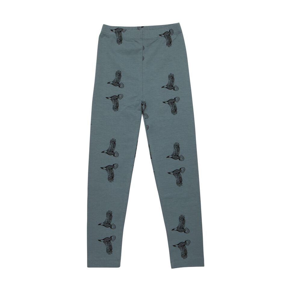 Iglo + Indi Sky Eagle Leggings - Blauwe Baggy Legging met Roodvogels