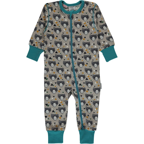 Maxomorra Jumpsuit Zipper Grizzly Bear - Zipsuit Beren