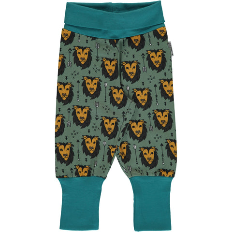 Maxomorra Pants Rib Lion Jungle - Baby Broekje Leeuwen