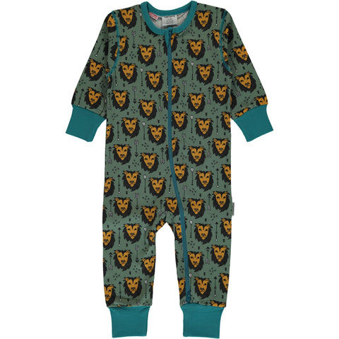 Maxomorra Jumpsuit Zipper Lion Jungle - Zipsuit Leeuwen