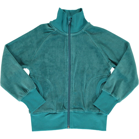 Maxomorra - Cardigan Zip Velour Artic Blue - Vest IJs Blauw Velours