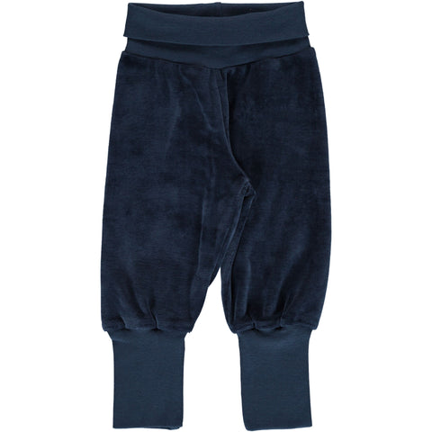 Maxomorra - Pants Rib Velours Midnight Blue - Donker Blauw Velours broekje