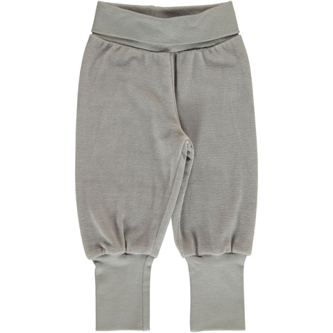 Maxomorra - Pants Rib Velours Dusty Grey - Velours broekje Mistig Grijs