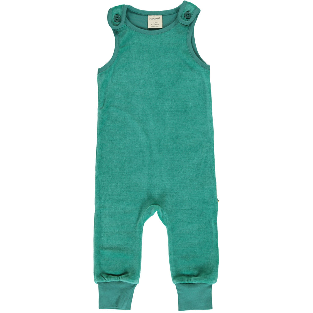 Maxomorra - Playsuit Velour Teal - Teal Groene Playsuit Velours