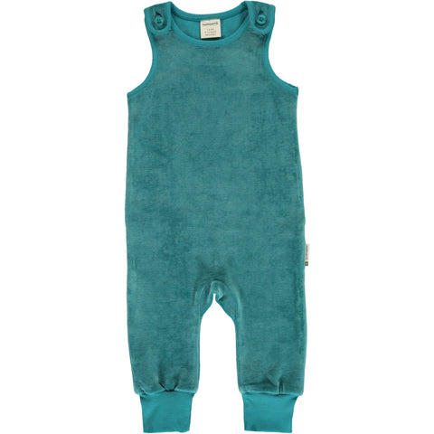 Maxomorra - Playsuit Velour Artic Blue - IJs Blauwe Playsuit Velours
