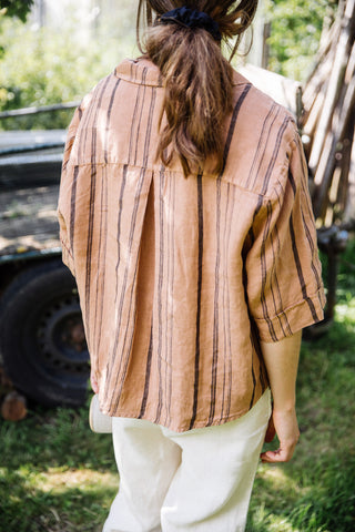 Matona Woman - Ari Shirt Tan Striped