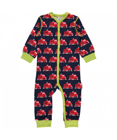 Maxomorra Jumpsuit Button Firetruck
