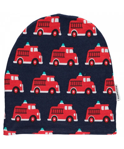 Maxomorra Beanie Hat Velours Fire truck