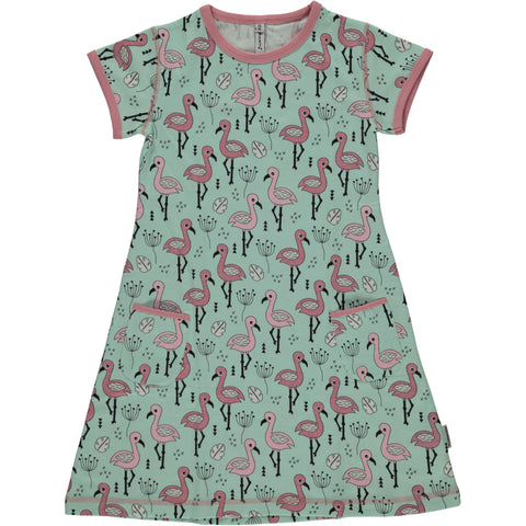 Maxomorra Short Sleeve Dress Sweet Flamingo