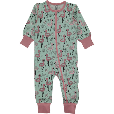 Maxomorra Zipsuit Sweet Flamingo - Jumpsuit Flamingo's