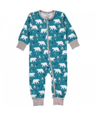 Maxomorra Plus Jumpsuit Zipper Zipsuit Polar Bear IJsbeer