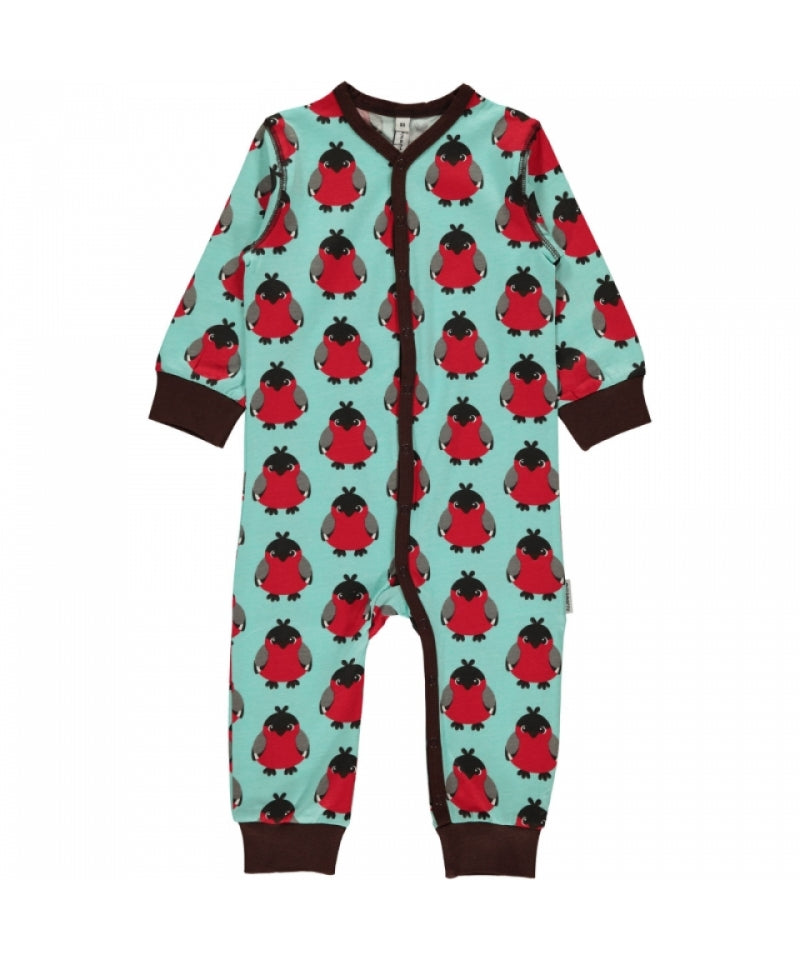 Maxomorra Jumpsuit Button Bird Red Rode Vogel