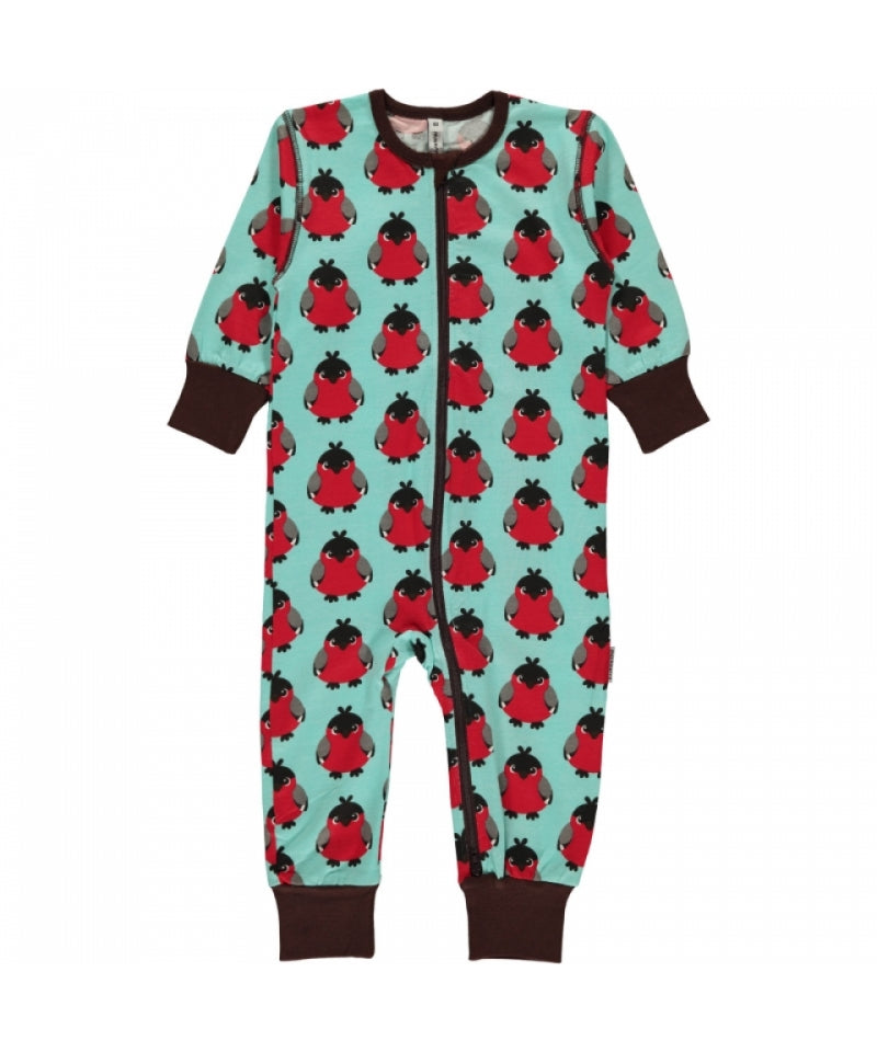 Maxomorra Jumpsuit Zipper Zipsuit Bird Red Rode Vogel