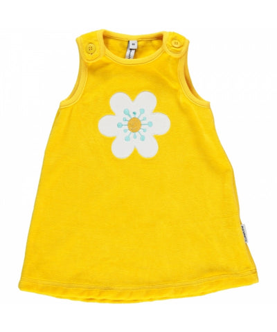 Maxomorra Dress Yellow Velours Woth Flower Gele Overgooier Bloem