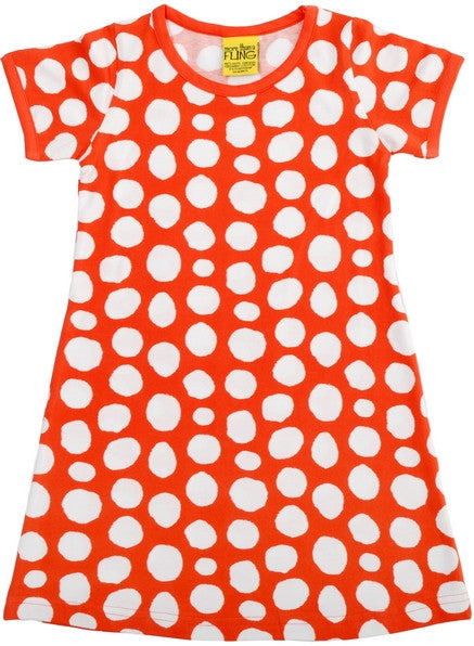 More Than A Fling Dress Red Dots Oranje Rood Jurkje Witte Stippen