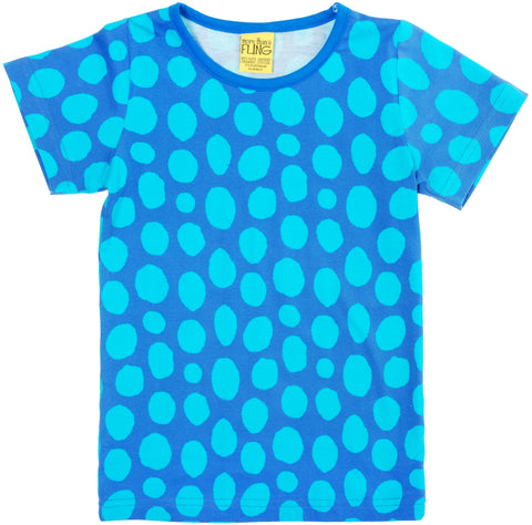 More Than A Fling T Shirt Blue Turquoise Dots - Blauw Shirt Turquoise Bollen