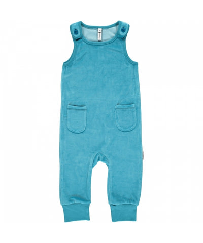 Maxomorra Playsuit Pocket Velours Blue