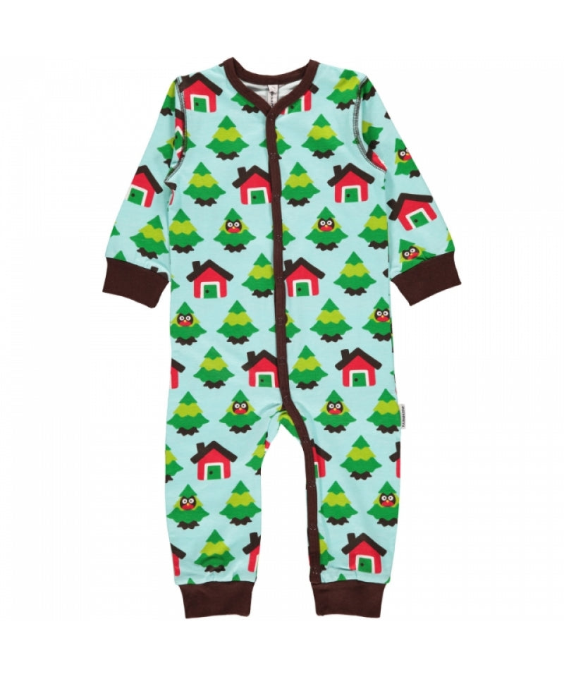 Maxomorra Jumpsuit Button Forest