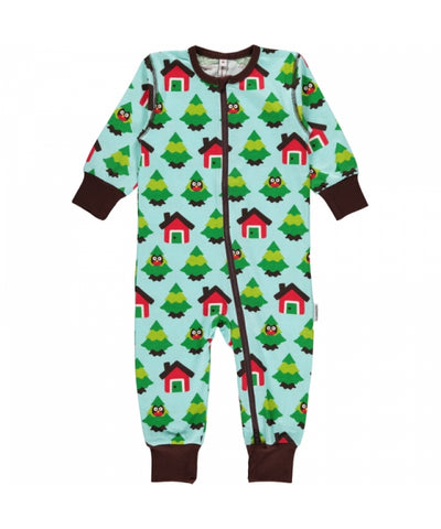 Maxomorra Jumpsuit Zipper Zipsuit Forest