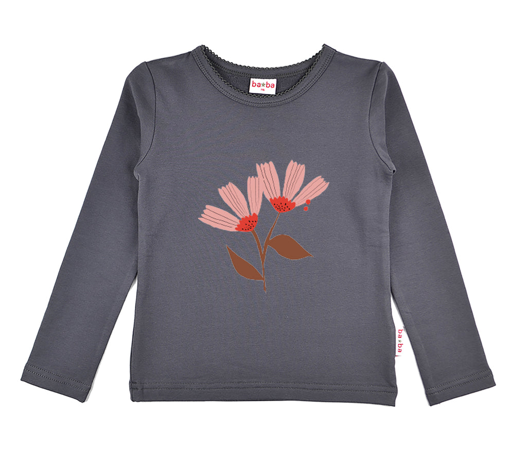 Baba Babywear - Longsleeve Girls Grey Pink Flower